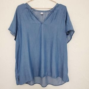 3/50% OLD NAVY | Blue Chambray Short Sleeve Top XL